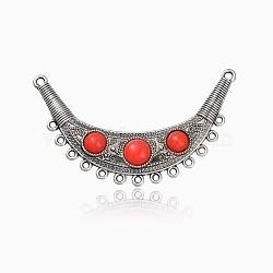Antique Silver alliage de tonalité connecteurs chandeliers de résine , rouge, 91x57x8mm, trou: 2 mm et 3 mm(PALLOY-J440-02AS)