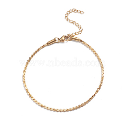 304 Stainless Steel Serpentine Chain Anklets, with Lobster Claw Clasps, Golden, 7-5/8inches(19.5cm)(AJEW-G024-04G)