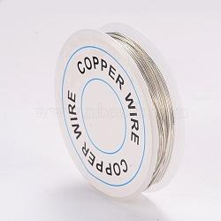fil de bijoux de cuivre, argent, Jauge 20, 0.8 mm; 3 m / rouleau(X-CWIR-CW0.8mm-06)