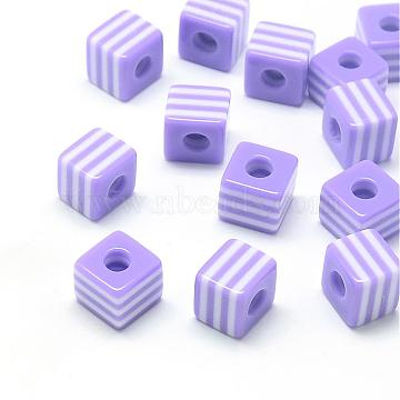 8mm Lilac Cube Resin Beads