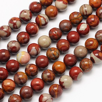 Natural Red Picture Jasper Round Beads Strands, 8mm, Hole: 1mm; about 49pcs/strand, 15.3 inches(G-N0166-02-8mm)