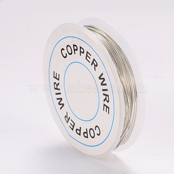 Craft Copper Wire, Silver, 20 Gauge, 0.8mm, about 9.84 Feet(3m)/roll(X-CWIR-CW0.8mm-06)