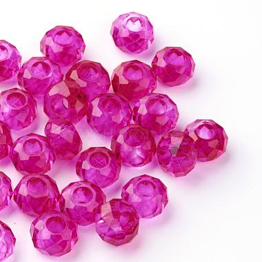 14mm Fuchsia Rondelle Glass Beads