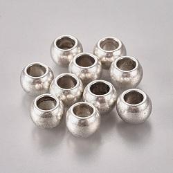 Perles avec un grand trou   , Perles européennes de style tibétain, sans plomb, sans cadmium et sans nickel, baril, argent antique, Longueur 8.5mm,  largeur de 11.5 mm, Trou: 6.5mm(X-LF9698Y-NF)
