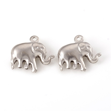 304 Stainless Steel Pendants, Elephant, Stainless Steel Color, 14x15x5mm, Hole: 1mm(X-STAS-G229-25P)