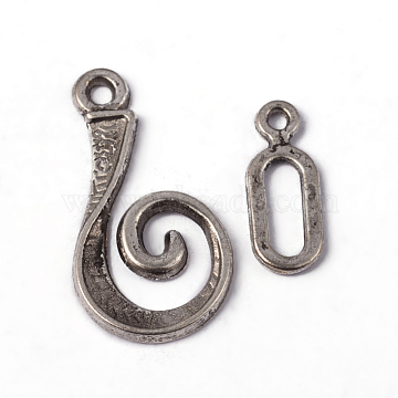 Tibetan Style Alloy Hook Clasps, For Leather Cord Bracelets Making, Lead Free and Cadmium Free, Vortex, Antique Silver, Vortex: 26x13mm, Bar: 16.5mm, Hole: 3.5mm(X-LF5077Y)