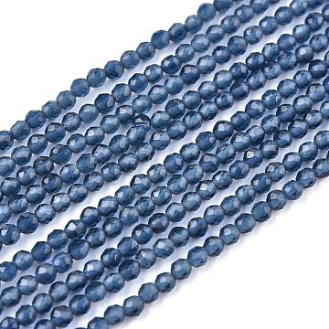 Glass Beads Strands, Imitation Quartz, Faceted, Round, Steel Blue, 2mm, Hole: 0.5mm,  about 175pcs/strand, 14.9 inches(38cm)(G-K185-16P)