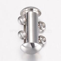 304 inoxydable fermoirs de verrouillage à glissière en acier, 2 brins, 4 trous, Tube, couleur inoxydable, 15x10x6.5mm, Trou: 1.8mm(STAS-P100-24P)