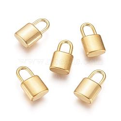 Vacuum Plating 304 Stainless Steel Pendants, Padlock, Golden, 11x6x3mm, Hole: 2.5x4mm