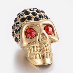 304 Stainless Steel Rhinestone Beads, Large Hole Beads, Skull Head, Ruby, Golden, 21.5x13x13mm, Hole: 6mm(X-STAS-H446-90G)
