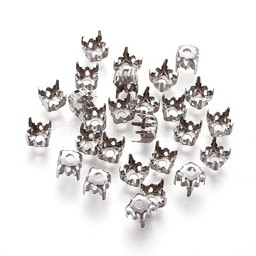 Stainless Steel Rhinestone Claw Settings, Flat Round, Stainless Steel Color, 6.9x5.4mm, Tray: 6mm(STAS-L229-06P)