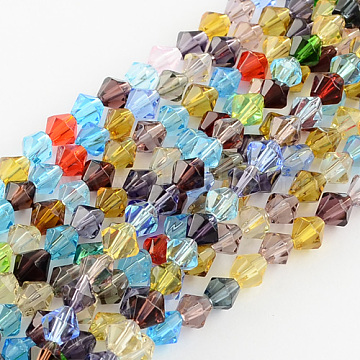 Mixed Glass Bicone Beads Strands, Faceted, 4mm, Hole: 1mm; about 83pcs/strand, 13inches(X-GLAA-S050-4mm)