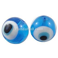 Perles vernissées manuelles, mauvais œil, rond, dodgerblue, environ 10 mm de diamètre, Trou: 1mm(X-DT249J-7)