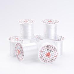Flat Elastic Crystal String, Elastic Beading Thread, for Stretch Bracelet Making, White, 0.8mm; 10m/roll, 25rolls/bag(EW-S001-18)
