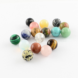 Perles de pierre gemme naturelles et synthétiques, sphère de pierres précieuses, pour création de fil enroulé pendentifs , rond, pas de trous / non percés, couleur mixte, 10mm(X-G-S117-10mm-M)