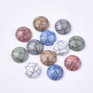 Resin Cabochons, Imitation Turquoise, Dome/Half Round, Mixed Color, 12x4mm(X-RESI-T034-09B)