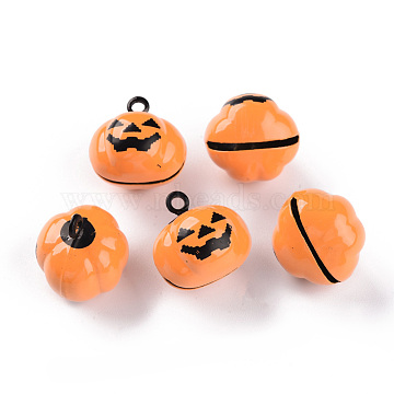 Halloween Baking Painted Brass Bell Pendants, Pumpkin Jack-O'-Lantern, Orange, 18.5x18.5x17mm, Hole: 2mm(KKB-S002-005)