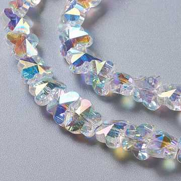 Glass Imitation Austrian Crystal Beads, Faceted Butterfly, Clear AB, 8x10x6mm, Hole: 1mm(GLAA-F108-06A)