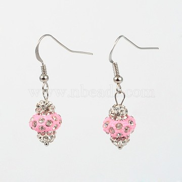 Platinum Plated Brass Dangle Earrings, with Round Polymer Clay Rhinestone Beads and Spray Painted Alloy Rondelle Beads, PearlPink, 37mm, Pin: 0.6mm(EJEW-J083-A04)