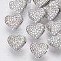 Brass Shank Buttons, with Micro Pave Cubic Zirconia, Heart, Clear, Platinum, 9x11x7mm, Hole: 1.4mm