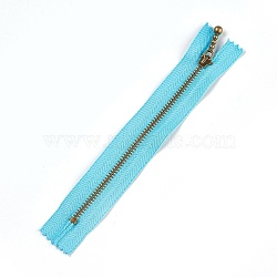 Garment Accessories, Nylon Closed-end Zipper, with Metal Zipper Puller, Zip-fastener Component, Antique Bronze, DarkTurquoise, 18.8~19.2x2.8x0.2mm(FIND-WH0028-03-A01)
