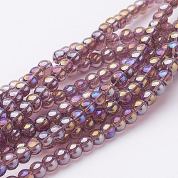 Glass Bead Strands, Round, AB Color Plated, MediumPurple, 6mm, Hole: 1mm; about 50pcs/strand, 13