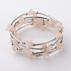 Bracelets enroulés avec puces de pierre gemme, fil à mémoire de bracelet en acier avec des perles de tuyauterie en cuivre et des perles rondes en fer, platine, quartz rose, 53mm(X-BJEW-JB01517-01)