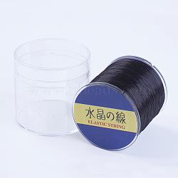 Chaîne en cristal élastique plat japonais, fil de perles élastique, pour la fabrication de bracelets élastiques, noir, 0.8mm, 300 yards / rouleau, 900 pied / rouleau(EW-G006-09)
