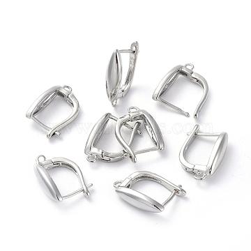 Accessoires de boucle d'oreilles en laiton, avec boucle, Plaqué longue durée, oeil de cheval, Platine plaqué réel, 19x13x5mm, trou: 1.2 mm; broches: 0.8 mm(KK-L180-114P)