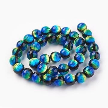 Handmade Silver Foil Glass Lampwork Beads, Round, DodgerBlue, 12~12.5mm, Hole: 1.2mm(LAMP-P051-M02-12mm)