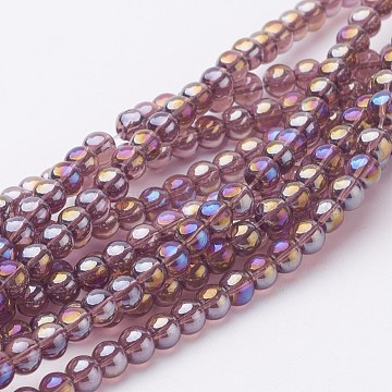 Glass Bead Strands, Round, AB Color Plated, MediumPurple, 6mm, Hole: 1mm; about 50pcs/strand, 13inches(X-GR6mm-03Y-AB)