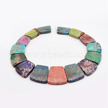 Natural Imperial Jasper Graduated Beads Strands, Dyed, Trapezoid, Colorful, 16~34x23~28x5~6mm, Hole: 1mm; about 15pcs/strand, 12.2inches(G-P296-A05)