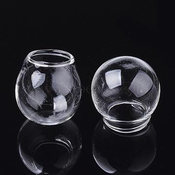 Handmade Blown Glass Globe Ball Bottles, for Glass Vial Pendants Making, Round, Clear, 24~25x23.5~24.5mm, Half Hole: 14mm(BLOW-T001-30B)