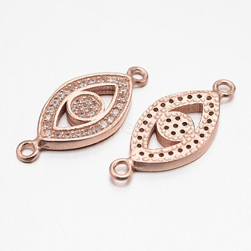 Eye 925 Sterling Silver Micro Pave Cubic Zirconia Links, Rose Gold, 9x22x2mm, Hole: 1mm(STER-F011-018RG)