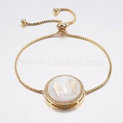 """Bracelets réglables de bolo de coquille de zircone cubique en laiton de pave réglable, Bracelets coulissants, avec des chaînes de boîte en laiton, plat rond en famille, blanc, or, 10-1/4"""" (260 mm); 1.2mm(BJEW-H557-12G)"""