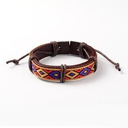 Bracelets réglables unisexe en corde de peau de vache, avec motif losange cordon en tissu, colorées, 53x54mm(BJEW-L544-03B)