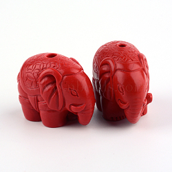 Perles de cinabre, éléphant, firebrick, 21x29x15mm, Trou: 2.5mm(X-CARL-Q004-46)