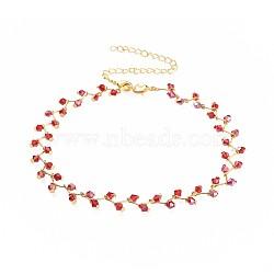 """Colliers ras du cou en perles de verre, avec fermoirs pince de homard en laiton et chaînes torsadées en fer, or, rouge, 13.3"""" (33.8cm); 12mm(NJEW-JN02500-03)"""