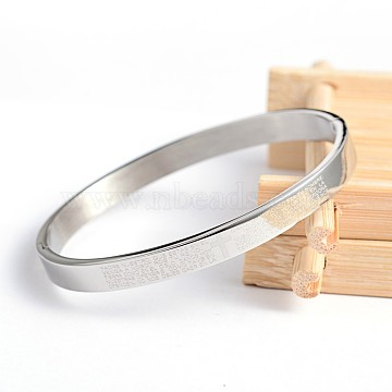 304 Stainless Steel Bangles, Lord's Prayer Cross, Stainless Steel Color, 50x58mm(BJEW-H0003-16A)