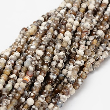 Faceted Natural Agate Round Beads Strands, Dyed, Camel, 4mm, Hole: 1mm; about 92pcs/strand, 15.3inches(X-G-E318B-4mm-01)