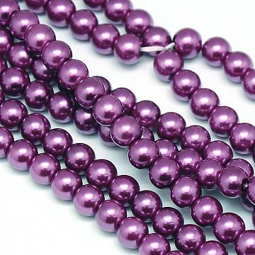 "Environmental  Dyed Glass Pearl Round Bead Strands, Cotton Cord Threaded, MediumVioletRed, 8mm, Hole: 0.7~1.1mm; about 52pcs/strand, 15""(X-HY-A002-8mm-RB029)"