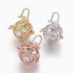 Laiton micro-pavé de zircones cubiques boîte à prières, ronde avec le coeur, clair, couleur mixte, 23x24x22mm, trou: 8x5 mm; diamètre intérieur: 15 mm(KK-O112-10)
