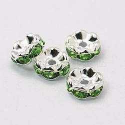горный хрусталь разделительные бусинки, класс, зеленый горный хрусталь, серебристый цвет, никель свободный, о 6 mm в диаметре, 3 mm; отверстия: 1 mm(X-RSB028NF-10)