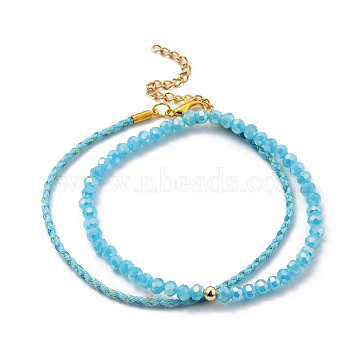 Glass Stretch Beaded Bracelets & Cotton Braided Cord Bracelet Sets, with Brass Beads and Zinc Alloy Lobster Claw Clasps, Golden, Deep Sky Blue, 8-1/8 inches(20.5cm); Inner Diameter: 2-1/2 inches(6.3cm); 2pcs/set(BJEW-JB05401-02)