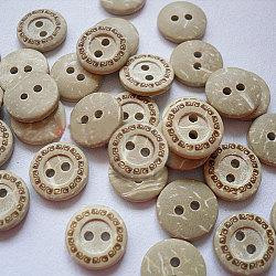 2 trous boutons ronds plat, Boutons de noix de coco, kaki, 13mm, environ 100 pcs / sachet (NNA0YXV)