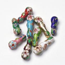perles en cloisonné main, calabash / gourde, couleur mélangée, 25~31x9 mm, trou: 1.5 mm(CLB-S006-16)