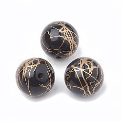 Perles acryliques d'effilage, de style peint à la bombe , rond, noir, 16mm, trou: 2 mm; environ 210 pcs / 500 g(MACR-N003-01)