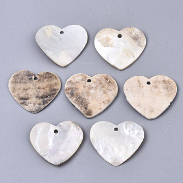 Natural Akoya Shell Pendants, Mother of Pearl Shell Pendants, Heart, Tan, 22x25x2~3mm, Hole: 1.8mm(SHEL-N026-58)