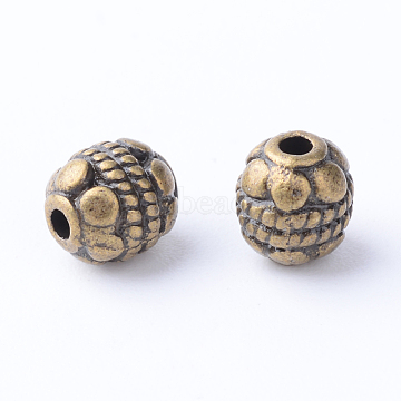 Tibetan Style Alloy Spacer Beads, Oval, Cadmium Free & Nickel Free & Lead Free, Antique Bronze, 5~5.5x6mm, Hole: 1mm, about 38pcs/20g(Y-TIBE-Q063-43AB-NR)