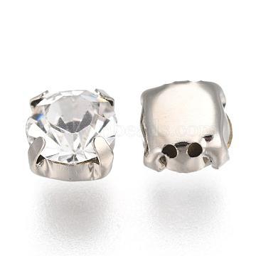 Square Brass Rhinestone Beads, Grade B, Platinum Metal Color, Crystal, 6.5x6.5x5mm, Hole: 1mm(RB-G149-01)